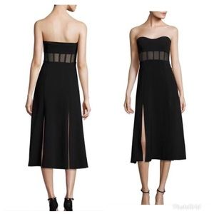 Cinq a Sept Strapless Black Midi Dress Brand New